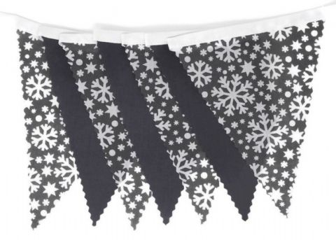 CHRISTMAS BUNTING  White on Grey Snowflakes & Plain Dark Grey - 3m - 14 flags (single-sided)